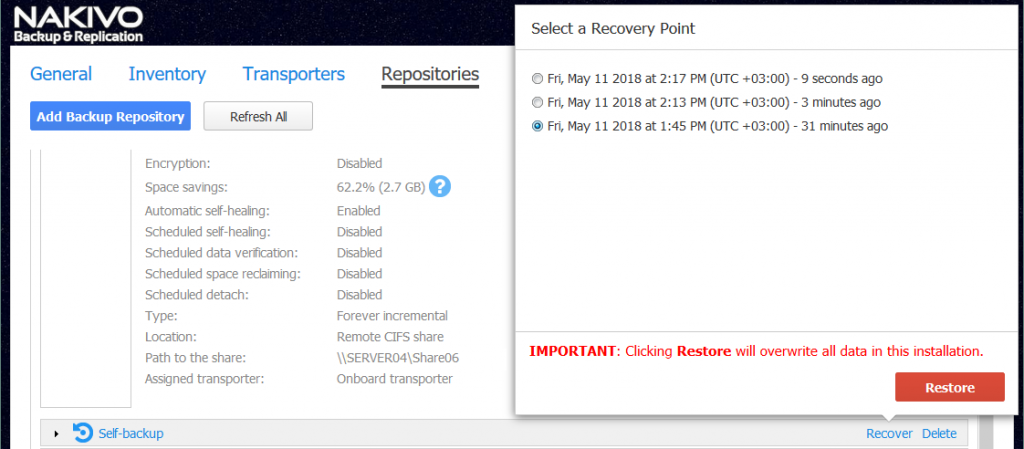 Selecting a Self-Backup recovery point