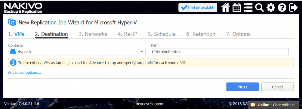 Selecting the destination Hyper-V host to store the replica.
