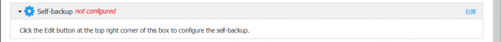 Self-backup is not configured.