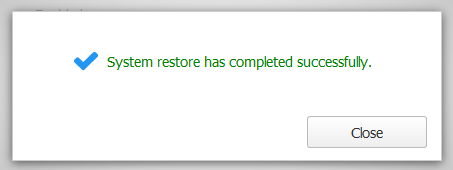 Successful system restore from Self-Backup.