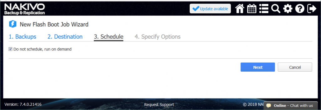 The Hyper-V Flash VM Boot scheduling settings.
