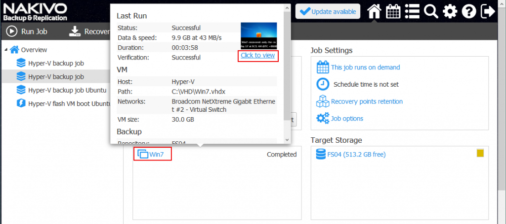 How to Ensure Recoverability with Hyper-V Screenshot